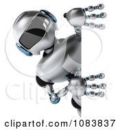 Clipart 3d Chrome Robot Holding A Sign Royalty Free CGI Illustration