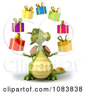 Clipart 3d Green Dragon Juggling Gift Boxes Royalty Free CGI Illustration
