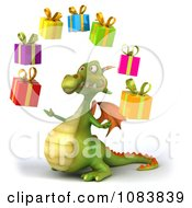 Clipart 3d Green Dragon Juggling Presents Royalty Free CGI Illustration