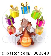 Clipart 3d Red Dragon Juggling Gift Boxes Royalty Free CGI Illustration