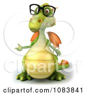 Clipart 3d Green Dragon Wearing Reading Glasses And Presenting Royalty Free CGI Illustration