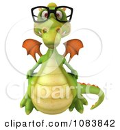 Clipart 3d Green Dragon Wearing Reading Glasses Royalty Free CGI Illustration