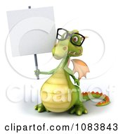 Clipart 3d Green Dragon Wearing Reading Glasses And Holding A Sign Royalty Free CGI Illustration