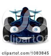 Clipart 3d Blue Race Car Facing Front Royalty Free CGI Illustration by Julos