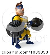 Clipart 3d Male Super Hero Weightlifting A Heavy Barbell 1 Royalty Free CGI Illustration