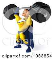 Clipart 3d Male Super Hero Weightlifting A Heavy Barbell 2 Royalty Free CGI Illustration