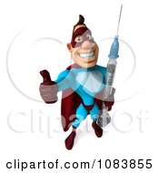 Clipart 3d Thumbs Up Super Dude With A Vaccine Syringe Royalty Free CGI Illustration by Julos