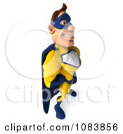 Clipart 3d Male Super Hero Smiling And Facing Right Royalty Free CGI Illustration
