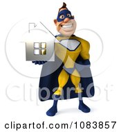 Clipart 3d Male Super Hero Holding A Chrome House 1 Royalty Free CGI Illustration
