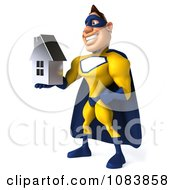 Clipart 3d Male Super Hero Holding A Chrome House 2 Royalty Free CGI Illustration