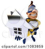 Clipart 3d Male Super Hero Holding A Chrome House 3 Royalty Free CGI Illustration