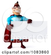 Clipart 3d Super Dude With A Sign Board Royalty Free CGI Illustration