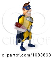 Clipart 3d Male Super Hero Holding A Steak 2 Royalty Free CGI Illustration