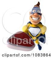 Clipart 3d Male Super Hero Holding A Steak 1 Royalty Free CGI Illustration