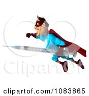 Clipart 3d Super Dude In Flight With A Vaccine Syringe 1 Royalty Free CGI Illustration by Julos