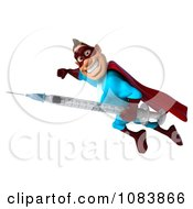 Clipart 3d Super Dude In Flight With A Vaccine Syringe 2 Royalty Free CGI Illustration by Julos