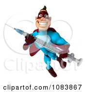 Clipart 3d Super Dude In Flight With A Vaccine Syringe 3 Royalty Free CGI Illustration by Julos