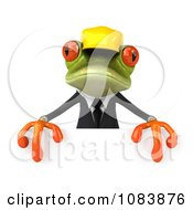 Clipart 3d Contractor Springer Frog Holding A Sign 1 Royalty Free CGI Illustration