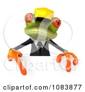 Clipart 3d Contractor Springer Frog Holding A Sign 2 Royalty Free CGI Illustration