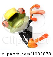 Clipart 3d Contractor Springer Frog Holding A Sign 3 Royalty Free CGI Illustration