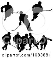 Black Hockey Player Silhouettes