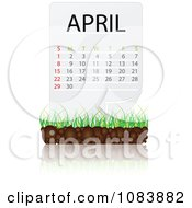 Clipart April Calendar With Soil And Grass Royalty Free Vector Illustration