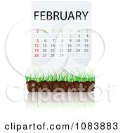 Clipart FEBRUARY Calendar With Soil And Grass Royalty Free Vector Illustration