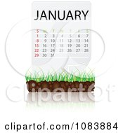 Clipart JANUARY Calendar With Soil And Grass Royalty Free Vector Illustration