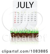 Clipart JULY Calendar With Soil And Grass Royalty Free Vector Illustration