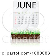 Clipart JUNE Calendar With Soil And Grass Royalty Free Vector Illustration
