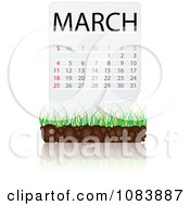 Clipart MARCH Calendar With Soil And Grass Royalty Free Vector Illustration