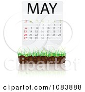 Clipart MAY Calendar With Soil And Grass Royalty Free Vector Illustration
