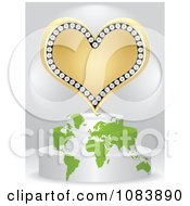3d Gold Poker Heart On A Map Podium