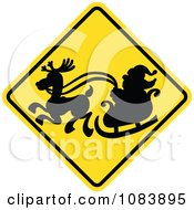 Clipart Silhouetted Santa And Sleigh On A Yellow Crossing Warning Sign Royalty Free Vector Illustration