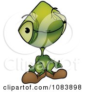 Clipart Shrugging Green Martian Alien Royalty Free Vector Illustration by dero
