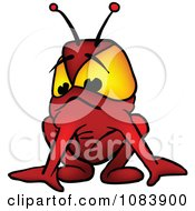 Clipart Red Alien Crouching Royalty Free Vector Illustration by dero