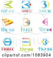 Clipart 3d Number Three Logos Royalty Free Vector Illustration