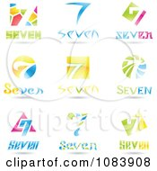 Clipart 3d Number Seven Logos Royalty Free Vector Illustration