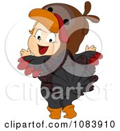 Clipart Thanksgiving Baby In A Turkey Costume Royalty Free Vector Illustration