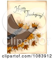 Clipart Happy Thanksgiving Greeting With Autumn Leaves And A Pilgrim Hat Over Tan Royalty Free Vector Illustration