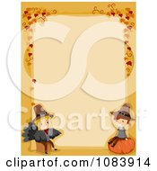 Clipart Thanksgiving Border With Kids And Autumn Leaves Royalty Free Vector Illustration by BNP Design Studio