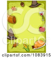 Clipart Green Thanksgiving Background Bordered With Icons Royalty Free Vector Illustration