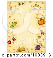 Clipart Thanksgiving Background With A Border Of Food And Leaves Royalty Free Vector Illustration