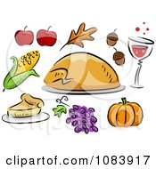 Clipart Thanksgiving Turkey Corn Apple Leaf Acorn Wine Pumpkin Grape And Pie Icons Royalty Free Vector Illustration