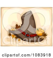 Clipart Pilgrim Hat With Autumn Leaves And A Pumpkin On Beige Royalty Free Vector Illustration