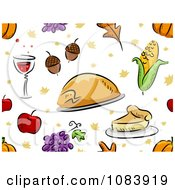 Clipart Seamless Thanksgiving Background Of Food Royalty Free Vector Illustration
