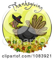 Clipart Green Thanksgiving Turkey Blog Icon Royalty Free Vector Illustration by BNP Design Studio