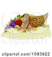 Clipart Thanksgiving Cornucopia Basket With Food Royalty Free Vector Illustration by BNP Design Studio