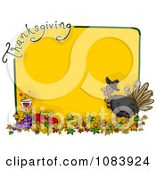 Clipart Yellow Thanksgiving Turkey Frame With Food And Leaves Royalty Free Vector Illustration by BNP Design Studio