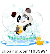 Clipart Cute Panda Bathing In A Tub Royalty Free Vector Illustration by Pushkin